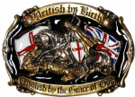 24ct. Gold & Silver Plated & Colour British by Birth English by the Grace of God Belt Buckle. SM2